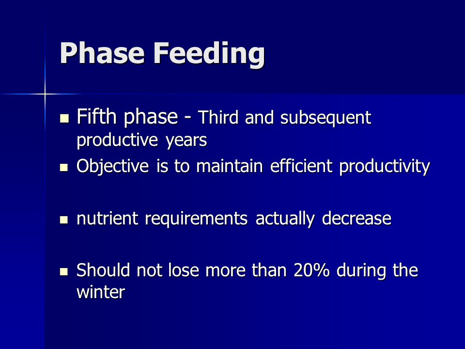 Phase Feeding Fifth phase - Third and subsequent productive years