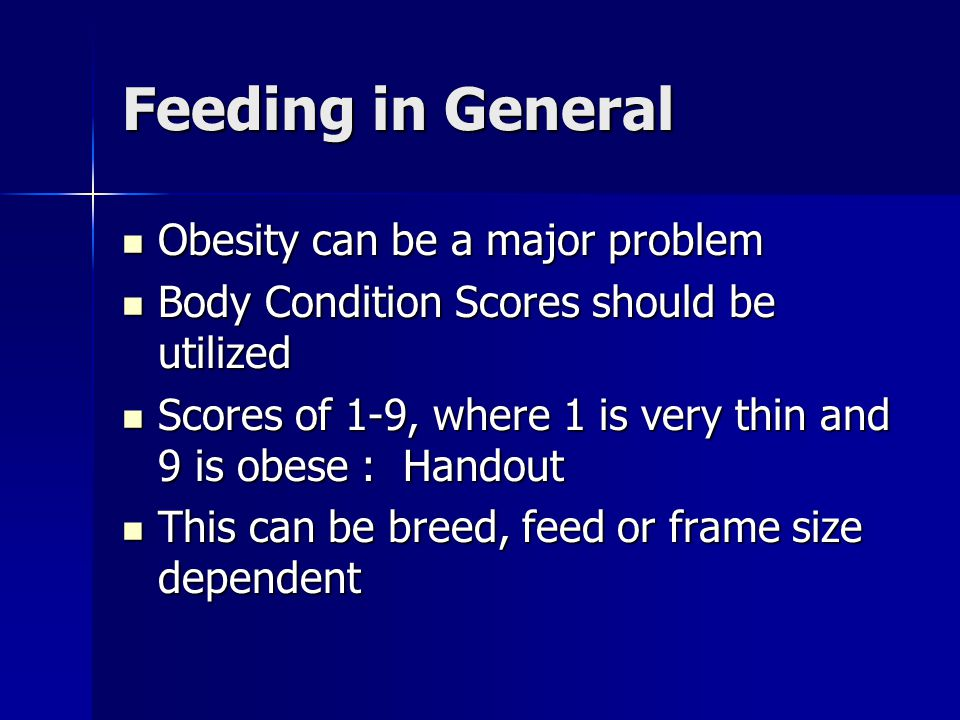 Feeding in General Obesity can be a major problem
