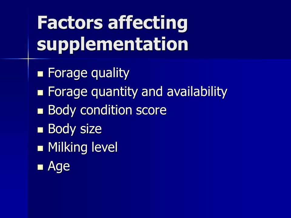 Factors affecting supplementation