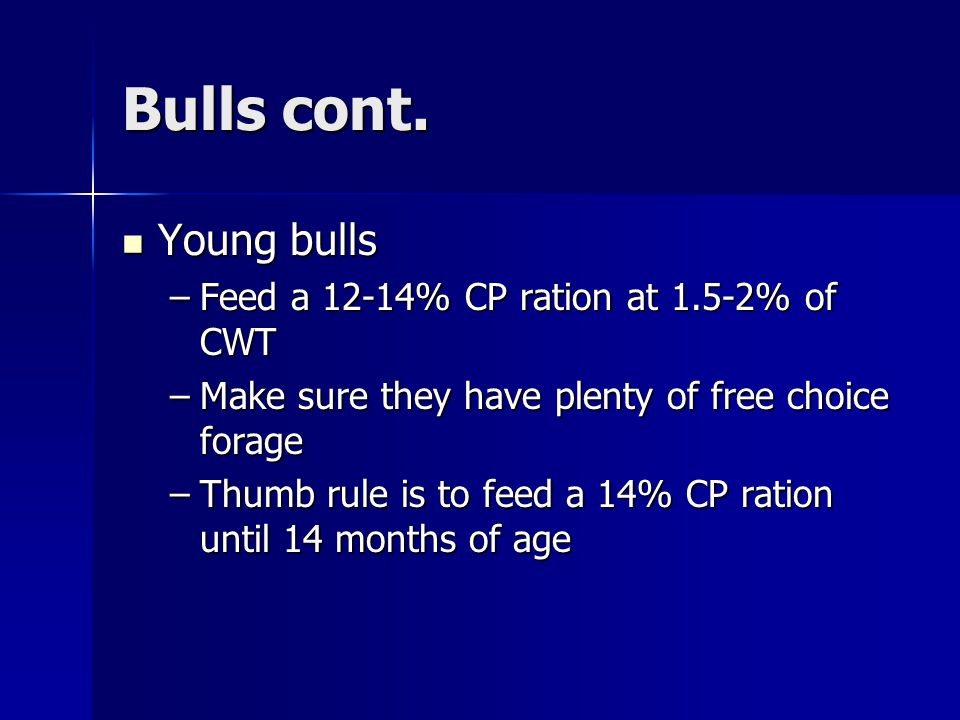 Bulls cont. Young bulls Feed a 12-14% CP ration at 1.5-2% of CWT