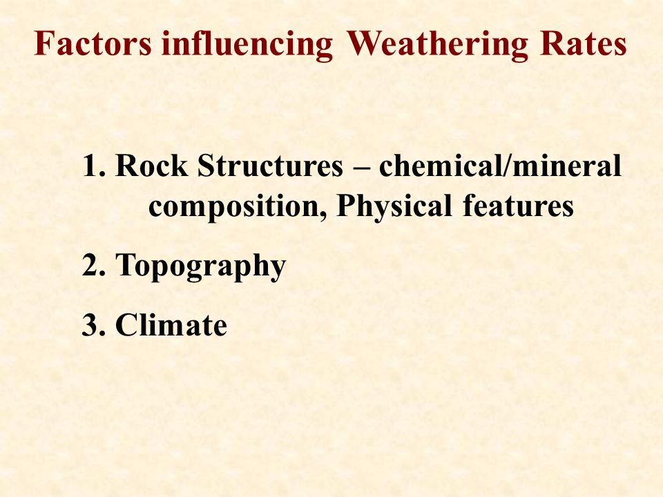 Factors influencing Weathering Rates