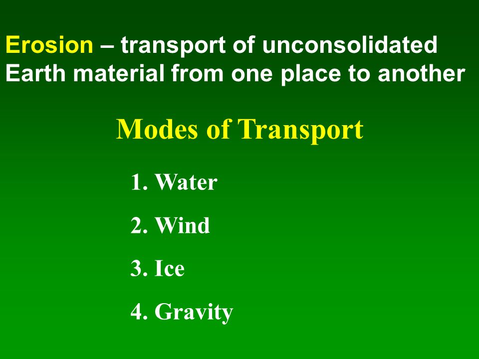 Erosion – transport of unconsolidated Earth material from one place to another