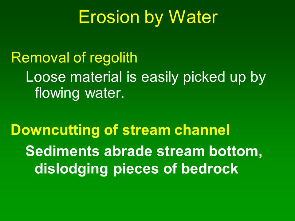Erosion by Water Removal of regolith