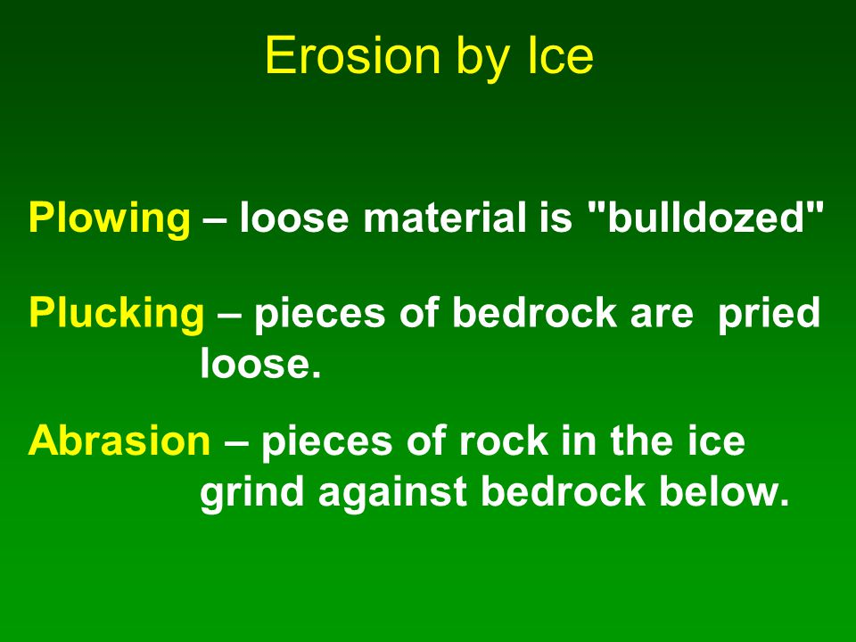 Erosion by Ice Plowing – loose material is bulldozed