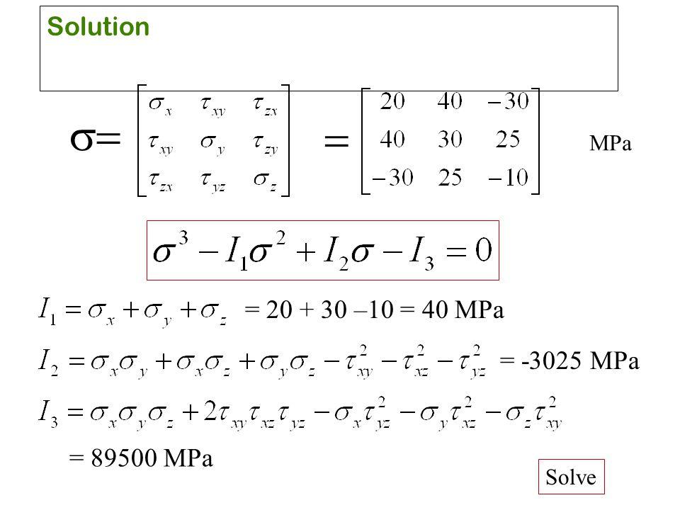 Solution s= = MPa = 20 + 30 –10 = 40 MPa = -3025 MPa = 89500 MPa Solve