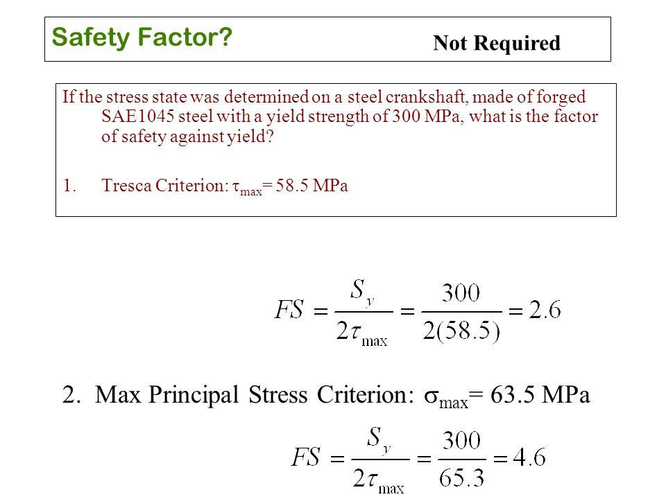2. Max Principal Stress Criterion: smax= 63.5 MPa
