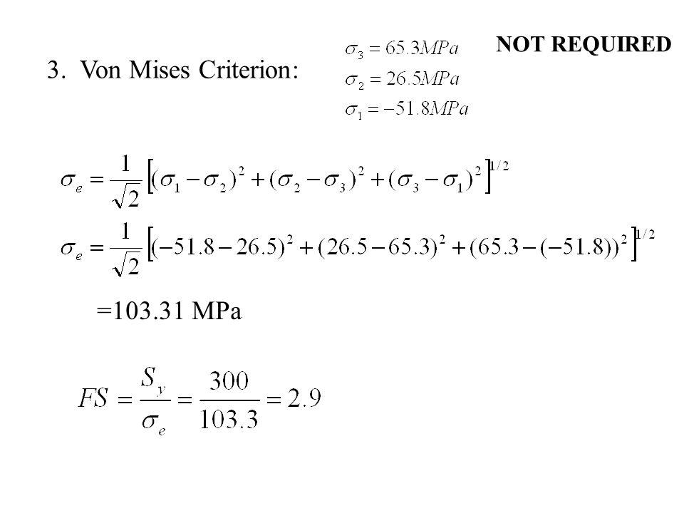 NOT REQUIRED 3. Von Mises Criterion: =103.31 MPa