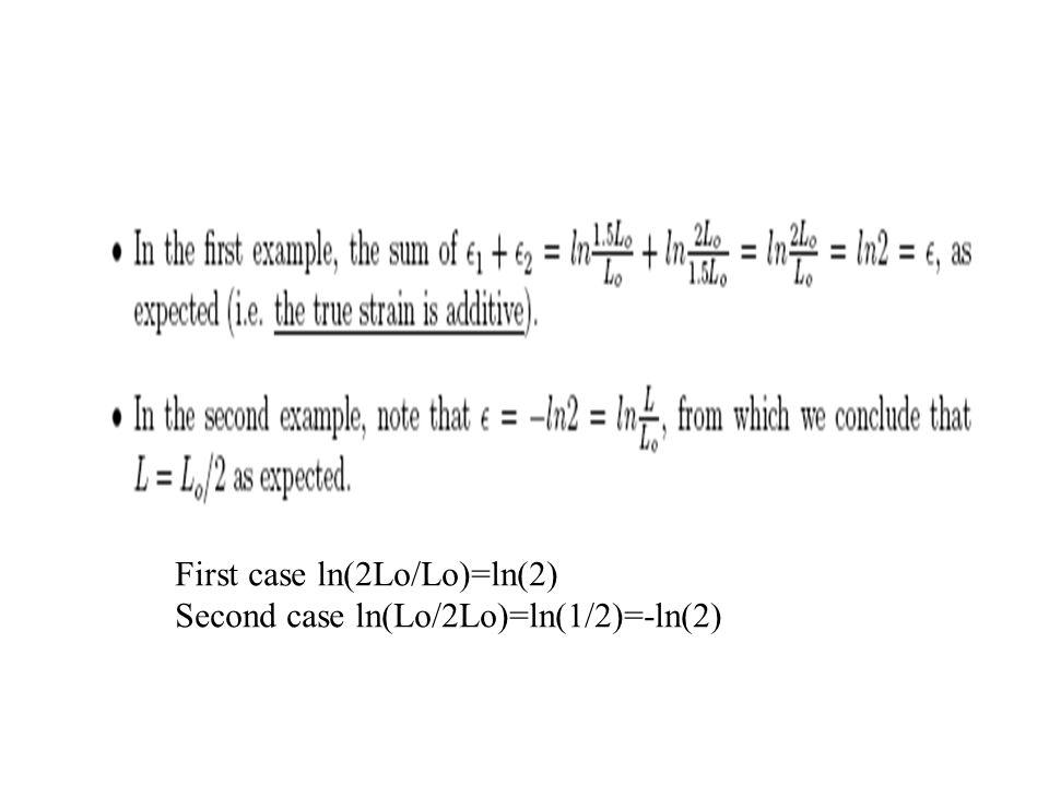 First case ln(2Lo/Lo)=ln(2)