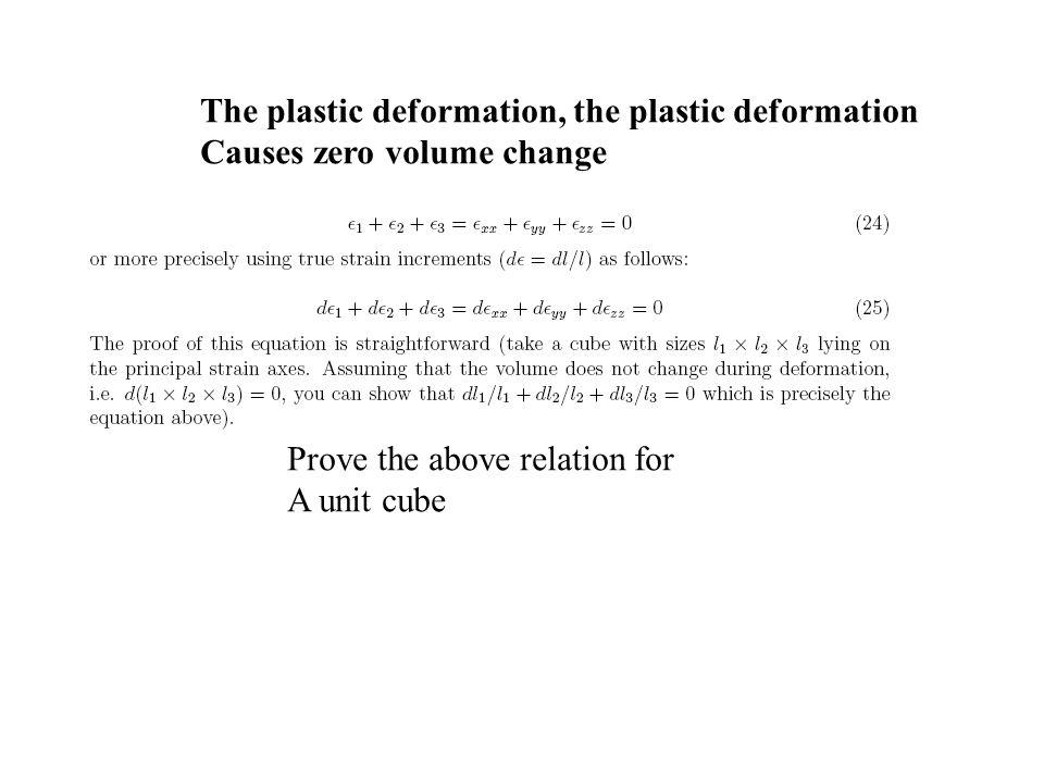 The plastic deformation, the plastic deformation
