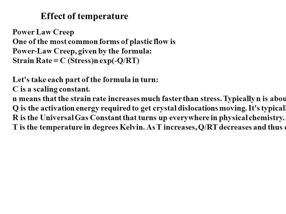 Effect of temperature Power Law Creep