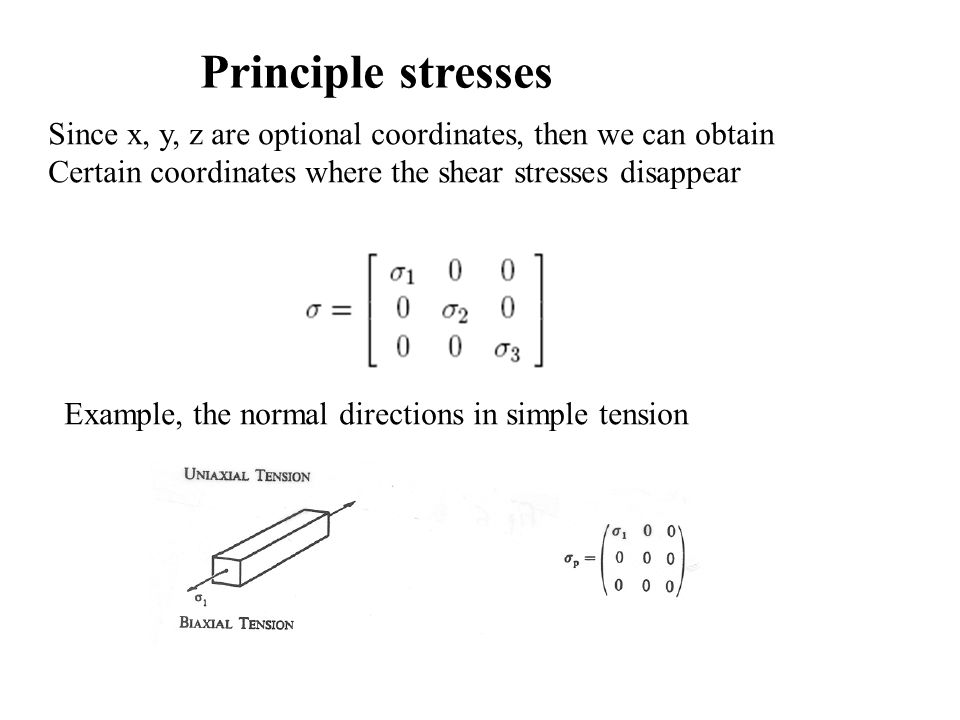 Principle stresses Since x, y, z are optional coordinates, then we can obtain. Certain coordinates where the shear stresses disappear.