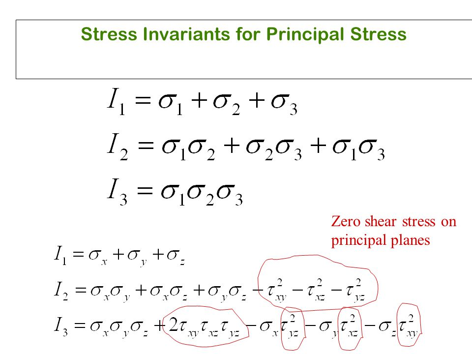 Stress Invariants for Principal Stress