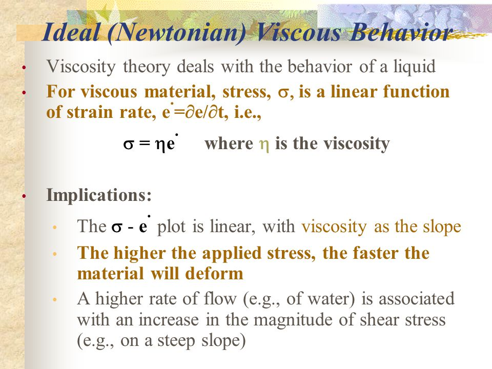 Ideal (Newtonian) Viscous Behavior