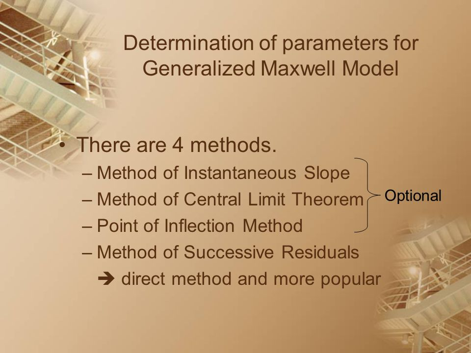 Determination of parameters for Generalized Maxwell Model