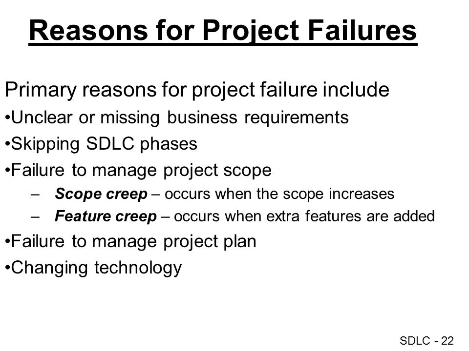 Reasons for Project Failures