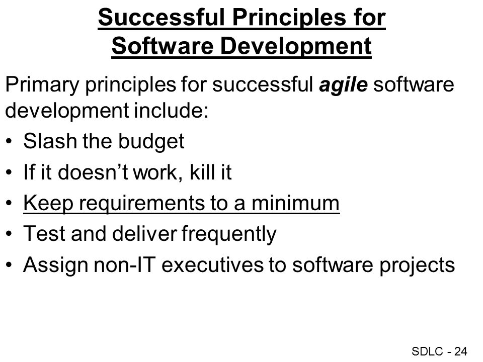Successful Principles for Software Development