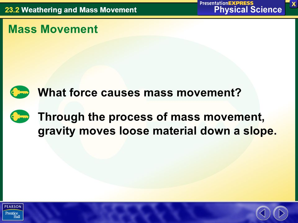 Mass Movement What force causes mass movement.