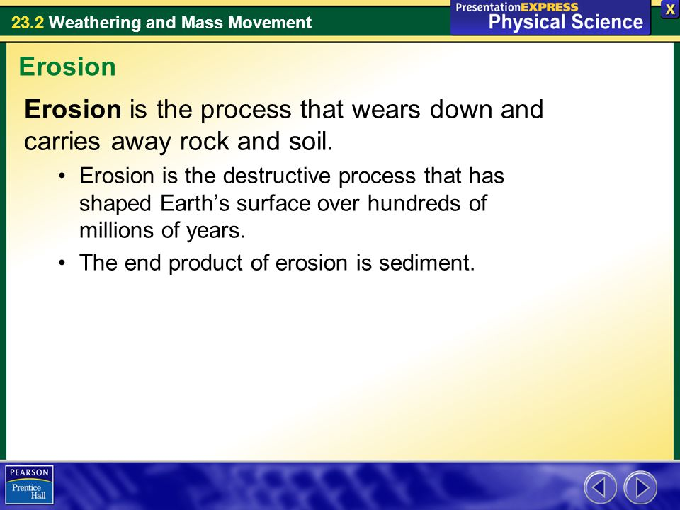 Erosion is the process that wears down and carries away rock and soil.