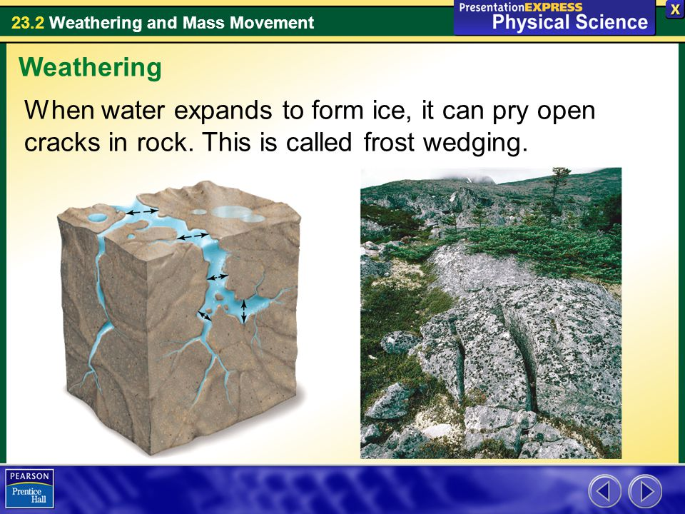 Weathering When water expands to form ice, it can pry open cracks in rock.