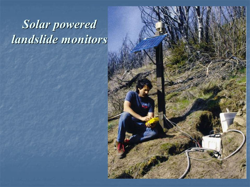 Solar powered landslide monitors