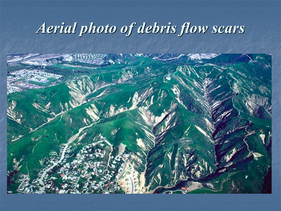 Aerial photo of debris flow scars