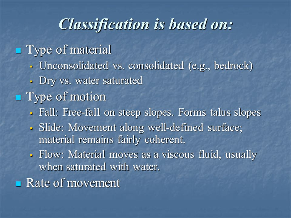 Classification is based on: