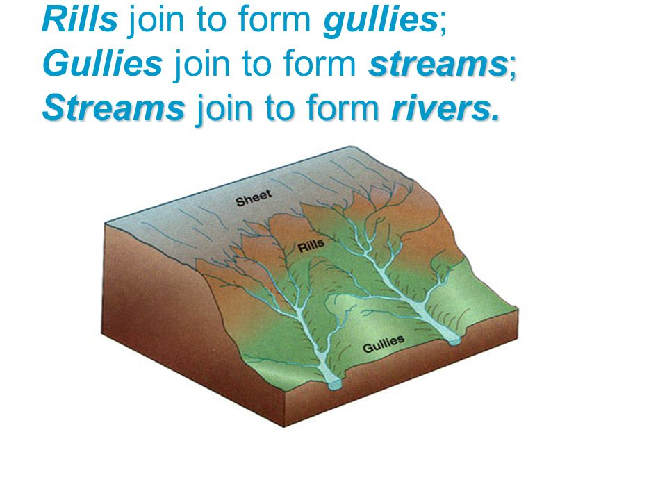 Rills join to form gullies; Gullies join to form streams; Streams join to form rivers.