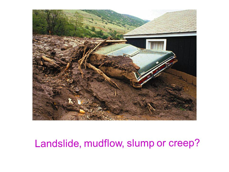 Landslide, mudflow, slump or creep