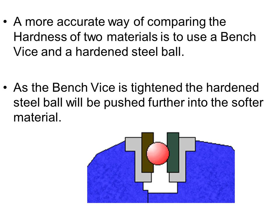A more accurate way of comparing the Hardness of two materials is to use a Bench Vice and a hardened steel ball.