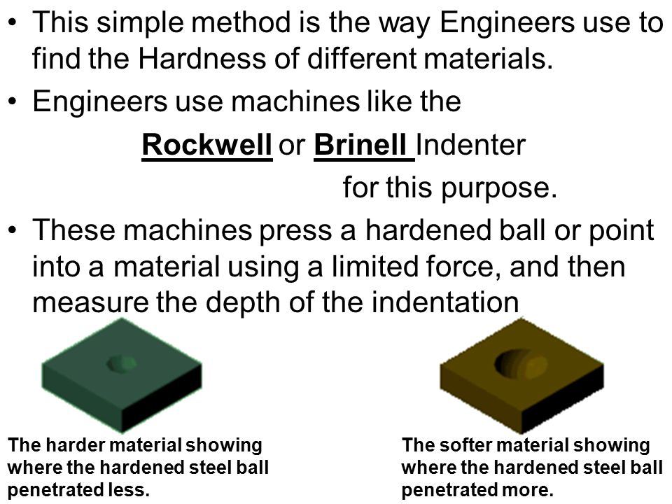 Engineers use machines like the Rockwell or Brinell Indenter