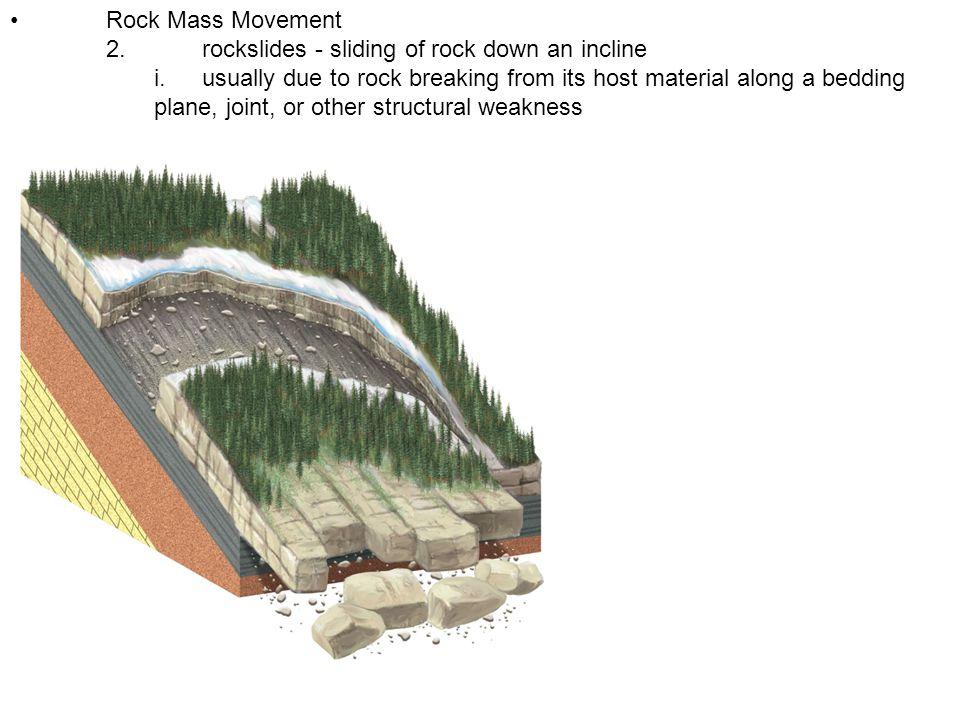 • Rock Mass Movement 2. rockslides - sliding of rock down an incline.