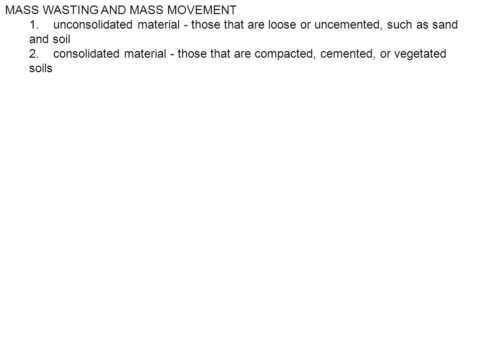 MASS WASTING AND MASS MOVEMENT