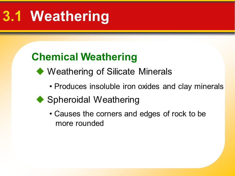 3.1 Weathering Chemical Weathering  Weathering of Silicate Minerals