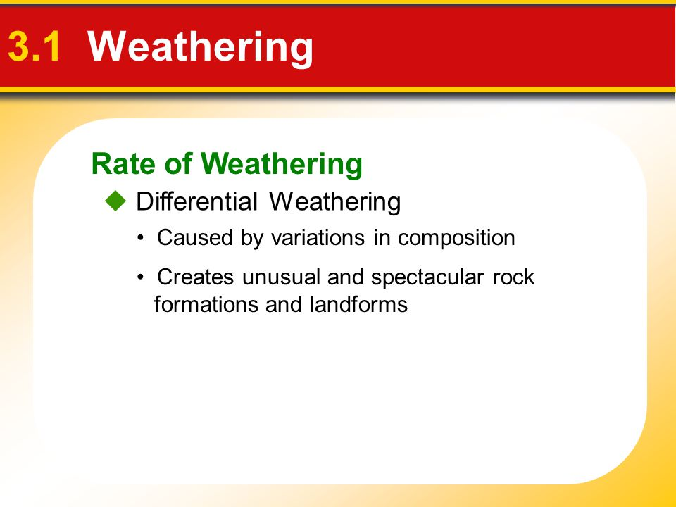 3.1 Weathering Rate of Weathering  Differential Weathering