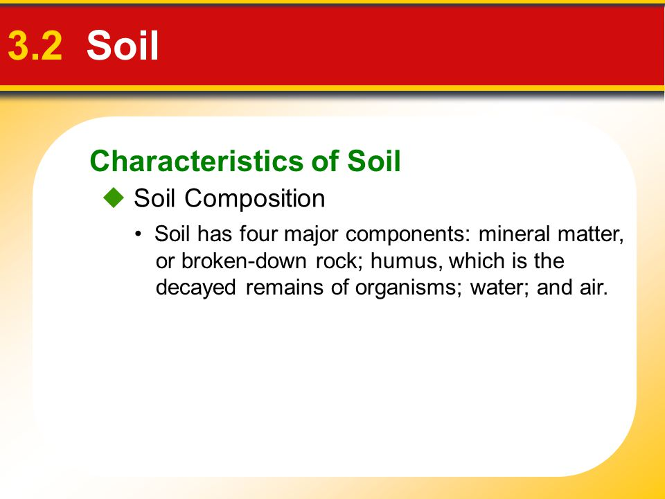 3.2 Soil Characteristics of Soil  Soil Composition