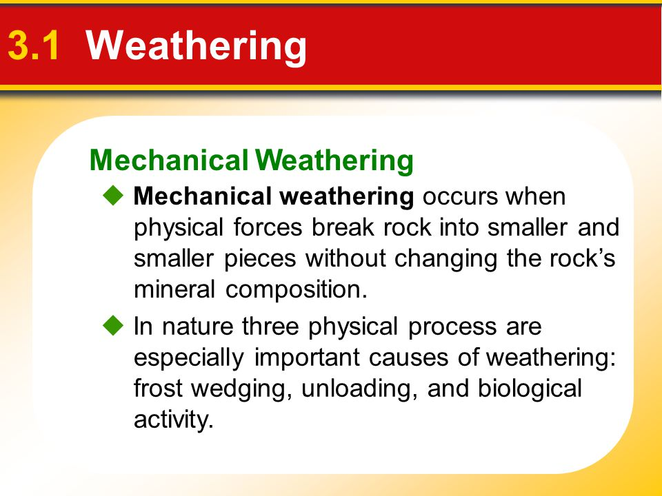 3.1 Weathering Mechanical Weathering