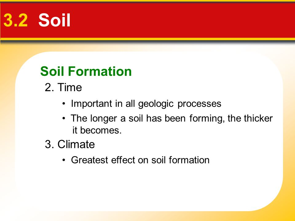 3.2 Soil Soil Formation 2. Time 3. Climate