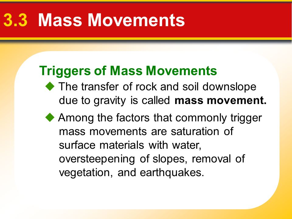 3.3 Mass Movements Triggers of Mass Movements