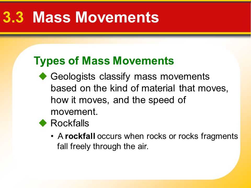 3.3 Mass Movements Types of Mass Movements