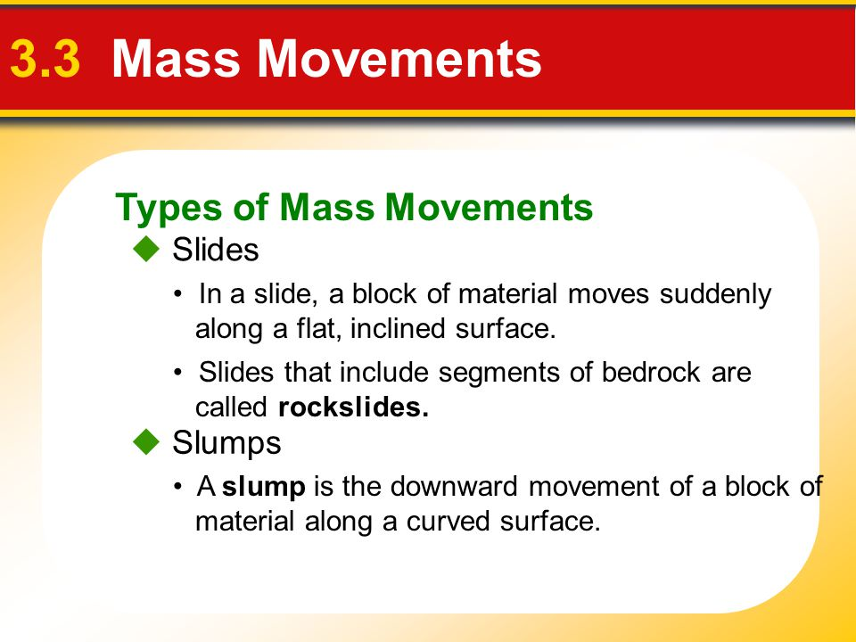 3.3 Mass Movements Types of Mass Movements  Slides  Slumps