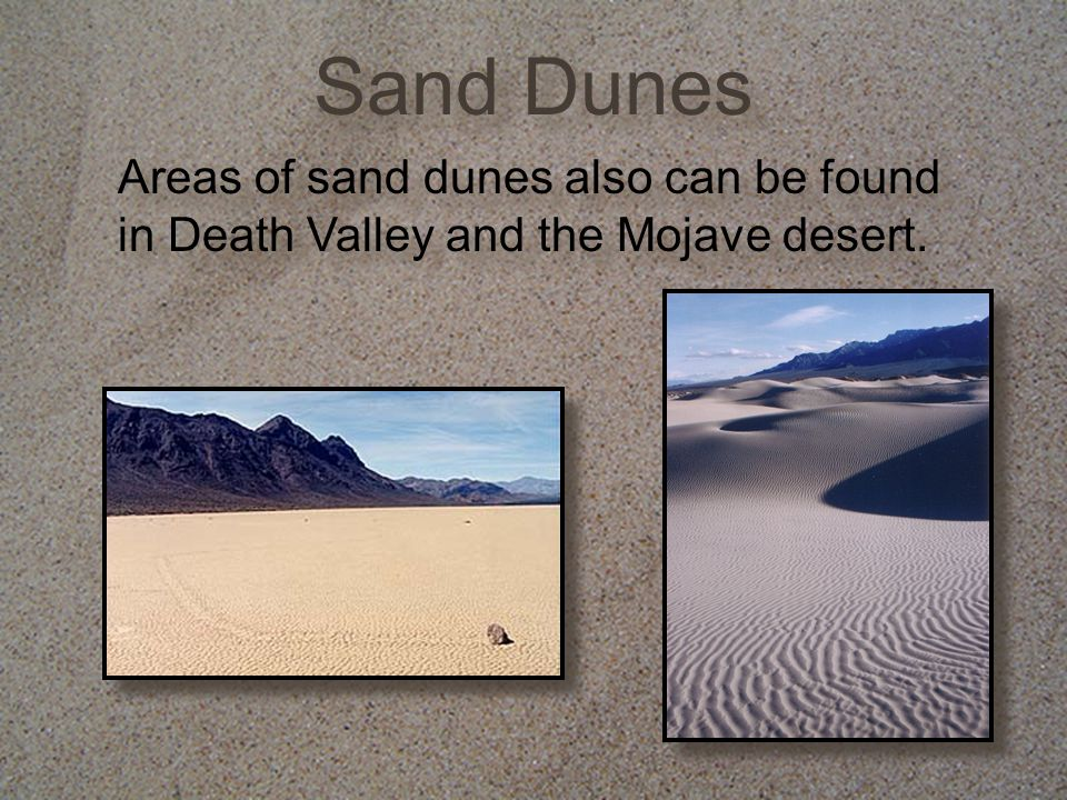 Sand Dunes Areas of sand dunes also can be found in Death Valley and the Mojave desert.