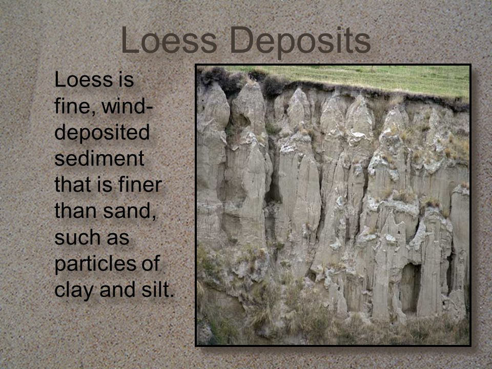 Loess Deposits Loess is fine, wind-deposited sediment that is finer than sand, such as particles of clay and silt.