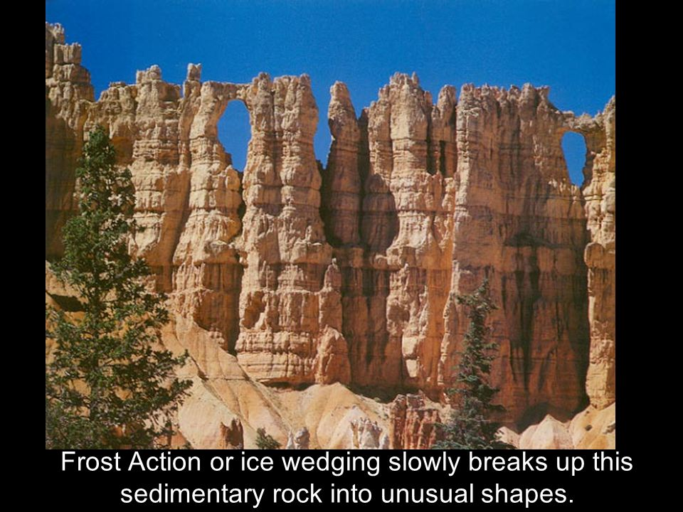 Frost Action or ice wedging slowly breaks up this sedimentary rock into unusual shapes.