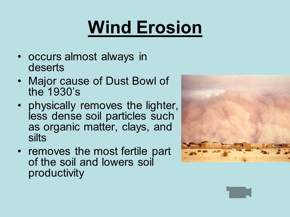 Wind Erosion occurs almost always in deserts