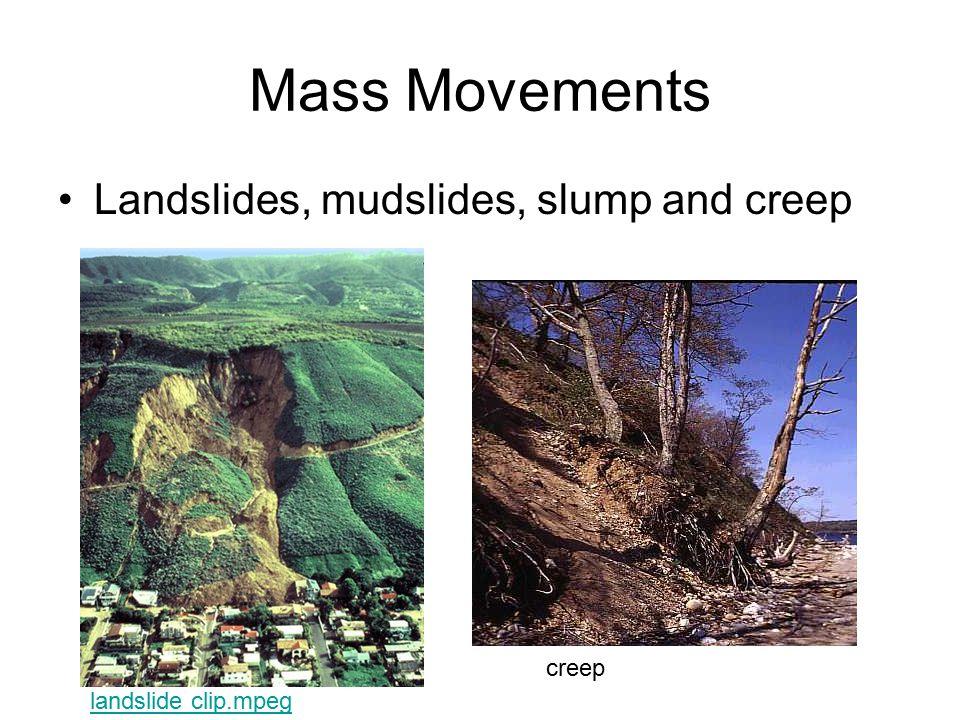 Mass Movements Landslides, mudslides, slump and creep creep