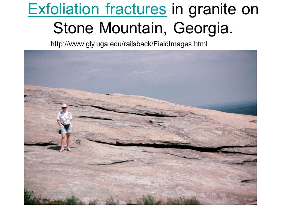 Exfoliation fractures in granite on Stone Mountain, Georgia.
