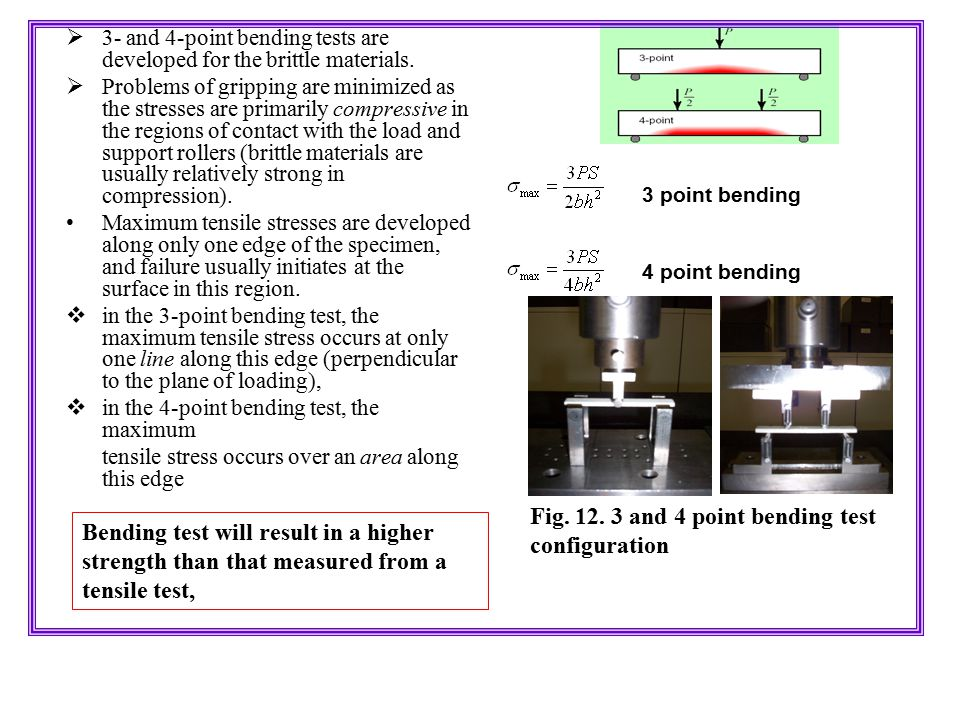 Fig. 12. 3 and 4 point bending test configuration
