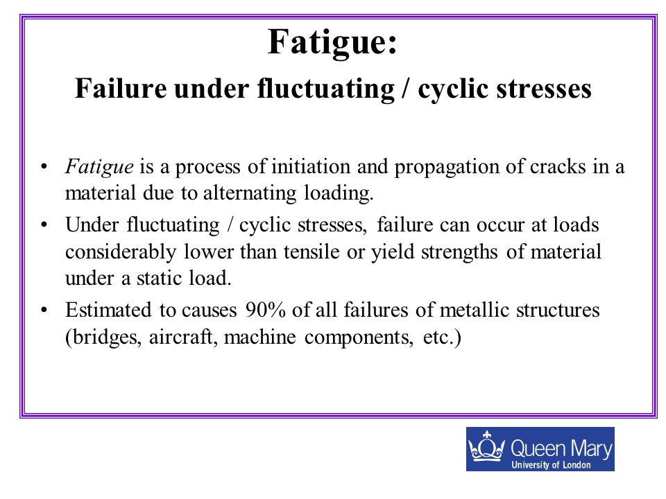 Fatigue: Failure under fluctuating / cyclic stresses