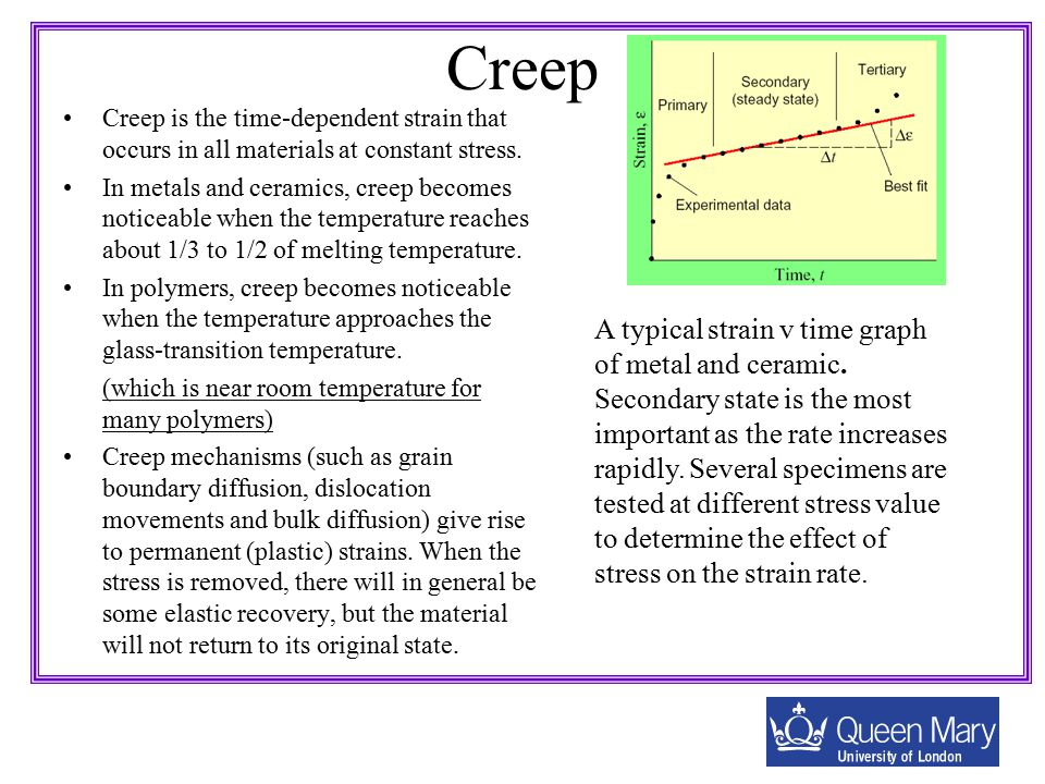 Creep Creep is the time-dependent strain that occurs in all materials at constant stress.