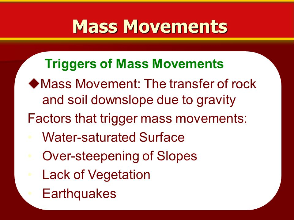 Mass Movements Triggers of Mass Movements